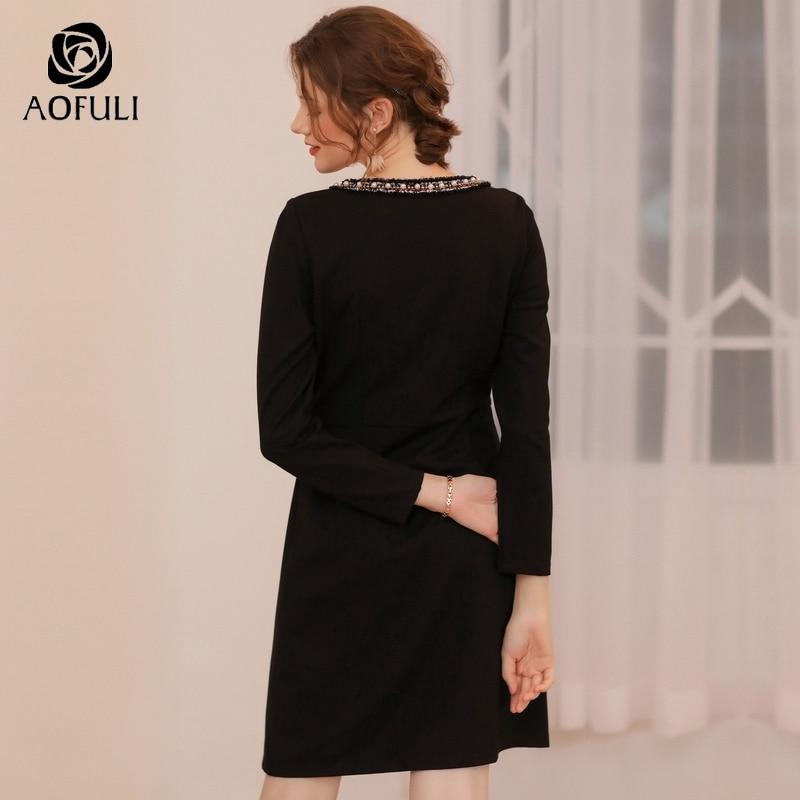 AOFULI القوس المحدبة طويل الأكمام ضئيلة اللباس لفصل الشتاء النساء زائد حجم عالية الخصر فساتين للحزب الأسود L  XXXL 4XL 5XL A3741-في فساتين من ملابس نسائية على  مجموعة 3