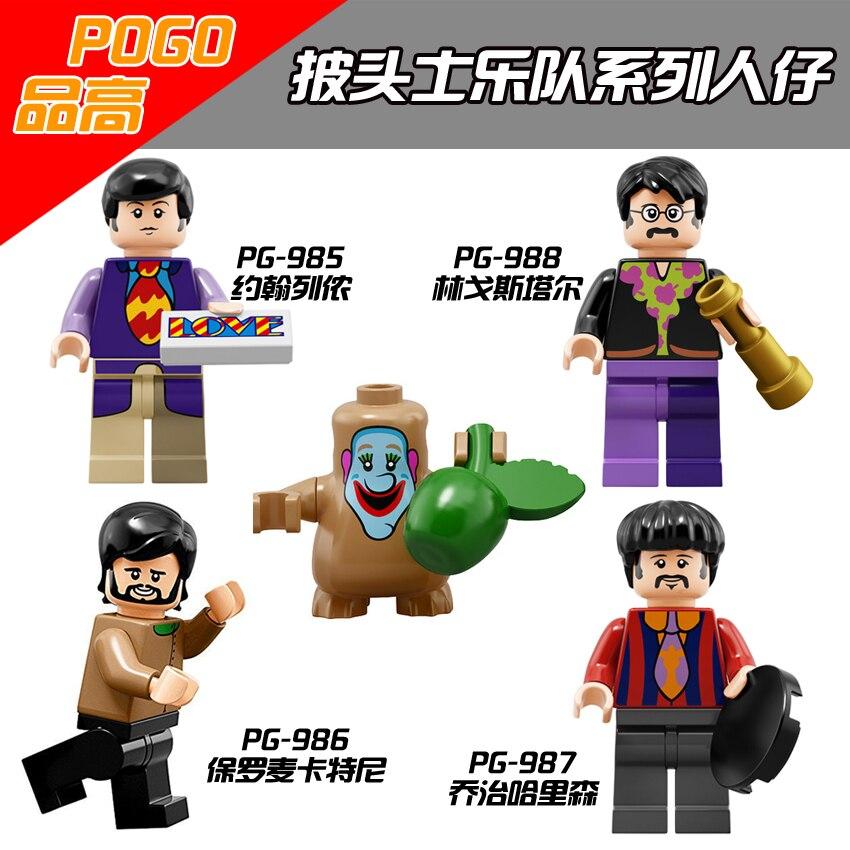 The Beatles John Lennon George Harrison Ringo Starr James Paul McCartney  Building Blocks Toys For Children PG8030  перчатки harrison james gloves beige