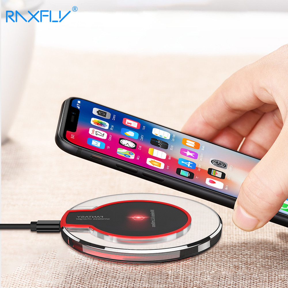 RAXFLY Qi Caricabatterie Senza Fili Per Samsung Galaxy S9 S8Plus Caricatore USB per Samsung Nota 8 Portatile Pad Ricarica Per iPhone X 8 più