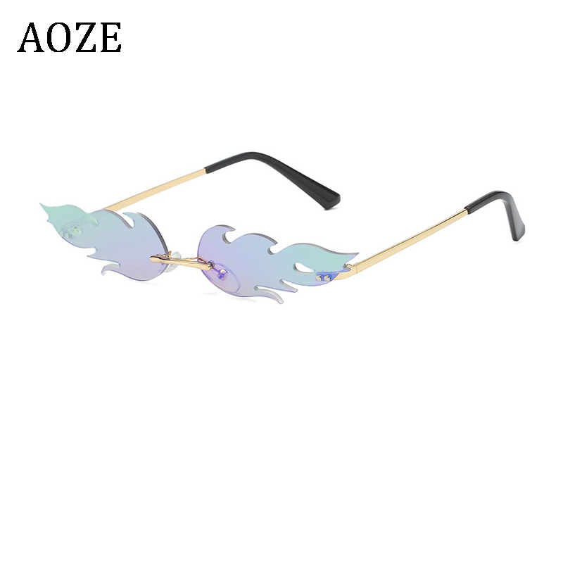 Sunglasses Women Fire-Flame Rimless Luxury Shades Trendy Eyewear Mirror For UV Wave
