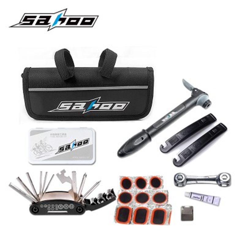 SAHOO Bicycle Tire Repair Tools Kits Cycling equipment portable utility suite include bike inflator