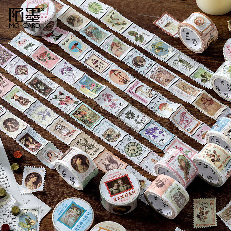 Vintage Stamp Stickers Kawaii Sticky Adhesive Tape Pig Stickers For Kids Scrapbooking DIY Photos Albums Supplies Stationery