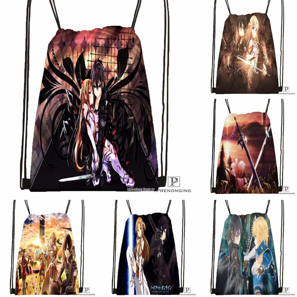 Custom Asada And Kirito Sword Drawstring Backpack Bag Cute Daypack Kids Satchel (Black Back) 31x40cm#180531-03-67