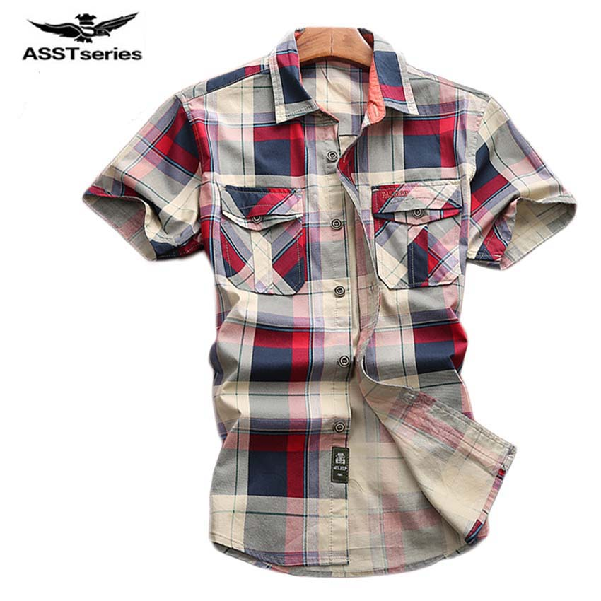 AFS JEEP 2017 New casual Plaid shirt men NEW brand male casual shirt top quality cotton Short sleeve Summer men shirts 75z Рубашка