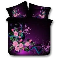 3d紫色の花寝具セットローズフラワーキルト布団カバーベッドセットベッドカバーリネンベッドシートcal王クイーンサイズツイン蝶4ピー