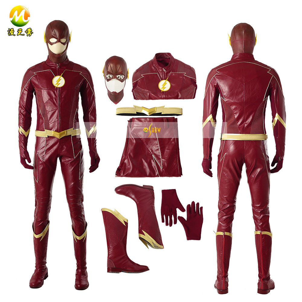 Custom Made <font><b>Flash</b></font> Cosplay CostumeThe <font><b>Flash</b></font> Season 4 <font><b>Barry</b></font> <font><b>Allen</b></font> <font><b>Flash</b></font> <font><b>costume</b></font> Carnival Halloween <font><b>Costumes</b></font> for adult Men uniform image