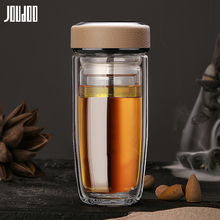 JOUDOO Business Glass Water Bottle With Stainless Steel Tea Infuser Filter Creative Double Office Mens Cup 35