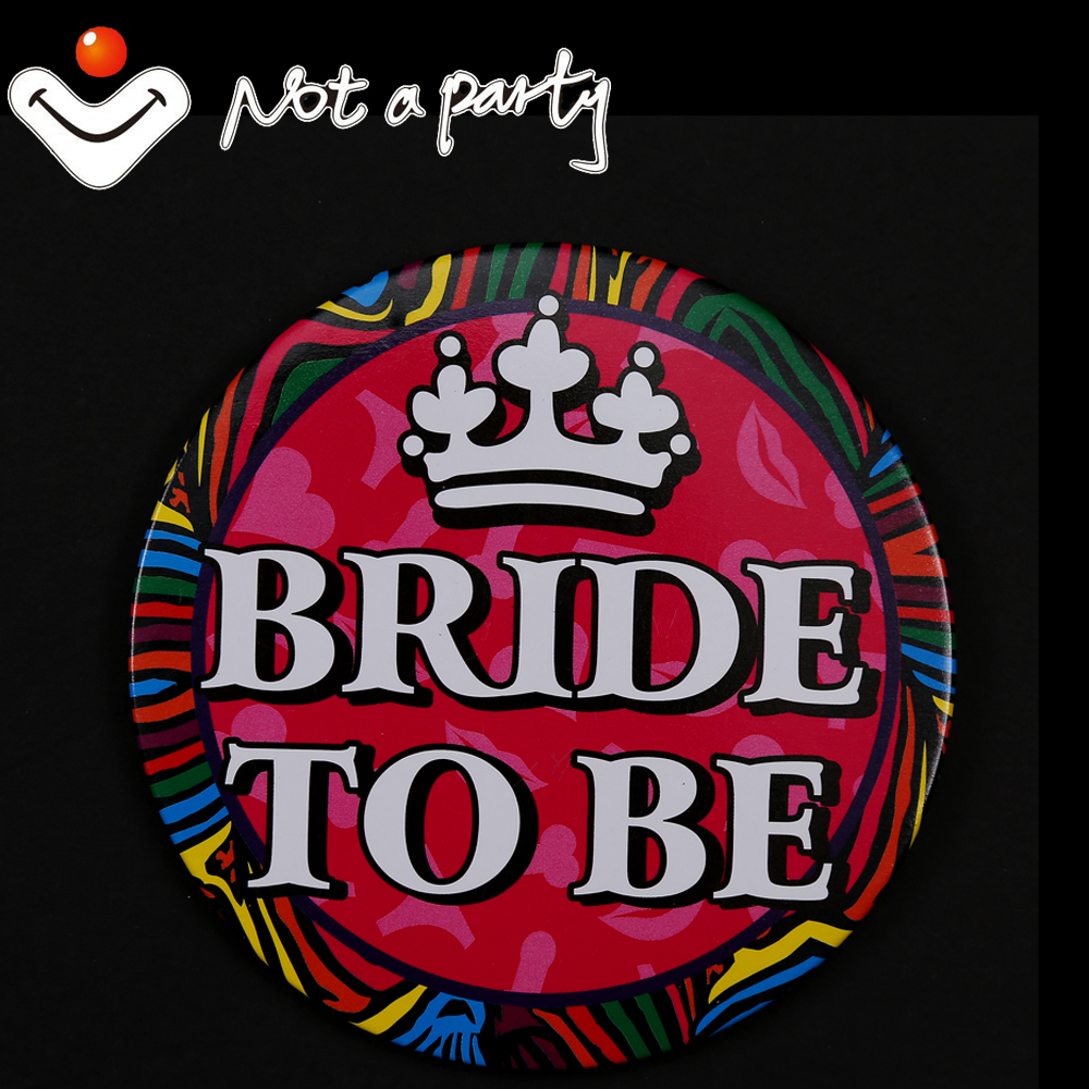 12pcs 10cm large fun button Wedding birthday event badge Zebra bride ...