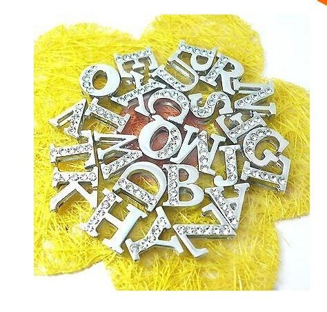 10pcs lot Half Rhinestone 8mm A-O Slider letters Slide Charms DIY  Accessories fit 8mm DIY Wristband   Bracelet   pet collar bae28170eada
