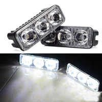 2pcs Waterproof Universal Car High Power Aluminum LED Running Lights with 3-LED Lens DC 12-24V White 6000K DRL Fog Lamps
