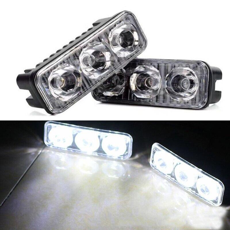 2 pcs Universal À Prova D' Água de Alta Potência de Alumínio Do Carro LEVOU Correndo Luzes com 3-LED Lens DC 12-24 V Branco 6000 K DRL Luzes De Nevoeiro