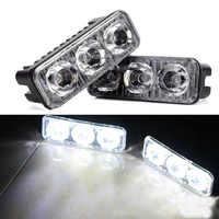 2 uds. Luces LED de aluminio de alta potencia impermeables universales para coches con 3 lentes LED cc 12-24V blanco 6000K DRL antiniebla
