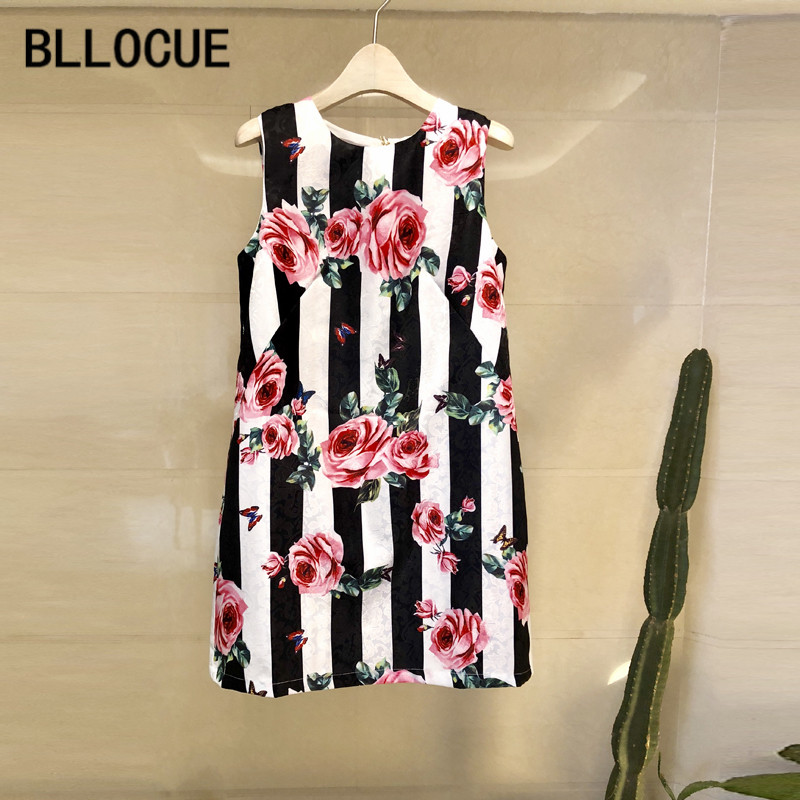 BLLOCUE 2018 Fashion Designer Runway Summer Tank Dress Women's Color Button Striped Rose Floral Print Vintage Party Short Dress-in Dresses from Women's Clothing    1