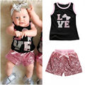 2Pcs Baby Girls Clothes Set 2016 New Fashion Little Girls Summer Vest Top and Sequined Beling Short Pant Kids Children Set