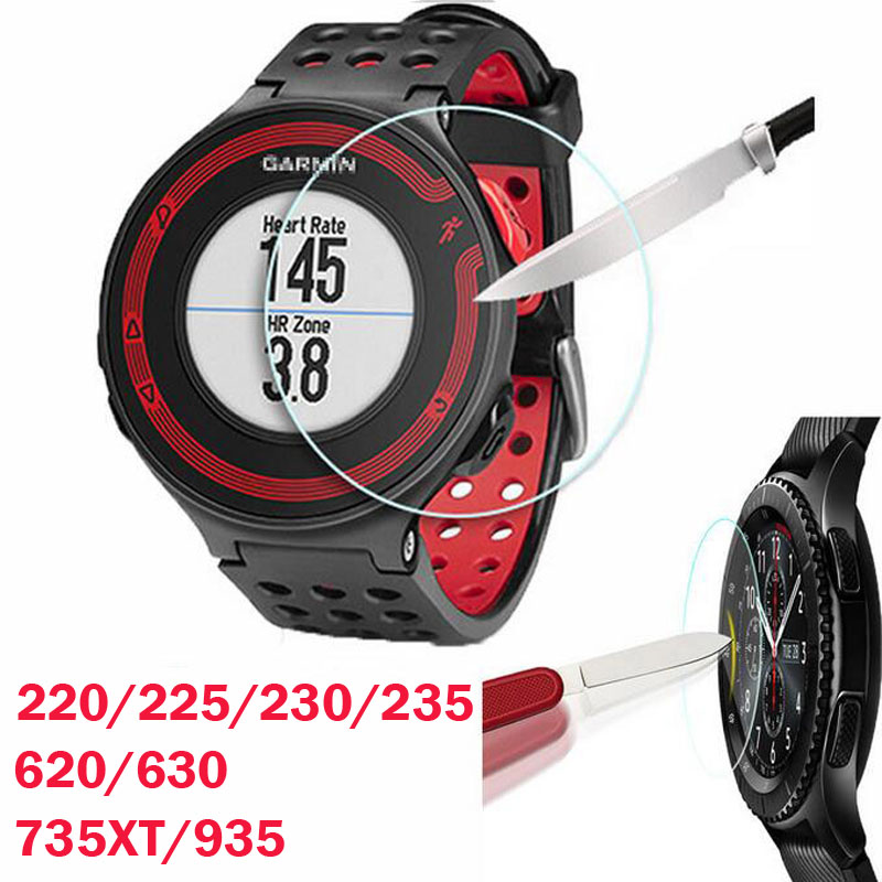 все цены на Tempered Glass Protective Film Clear Guard For Garmin Forerunner 220 225 230 235 620 630 735XT 935 Watch Screen Protector Cover