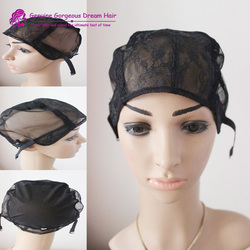 Black Small/Medium/Large JewishWig Caps For Making Wigs 5pcs Per LotGlueless Wig Caps Adjustable Strap On the Back