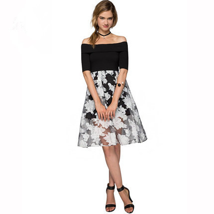 f50ebdf58fb0 Hot Sale 2015 Patchwork One-piece Off Shoulder Midi Summer Dress Flower  Printed Elegant Causual Tutu Dresses Retro Dress ZG15528