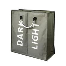 JILIDA Große zusammenklappbare 2 Section Wäsche Sorter Bag Alloy Griff Heavy Duty Hamper schmutzige Kleidung Wash Basket Home Organizer