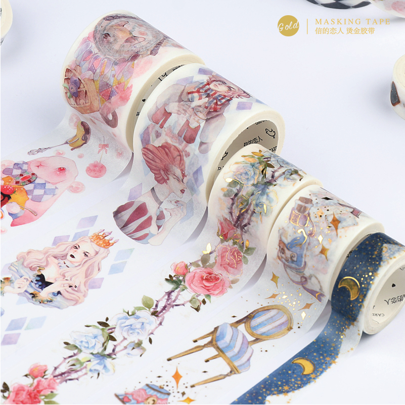 цена Cartoon Alice Foil Washi Tape DIY Decor Planners Scrapbooking Adhesive Label Sticker Tape Stationery