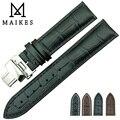 Maikes натуральная кожа ремешок мужчин 18 мм - 22 мм черная бабочка пряжки высокое качество часы группы для Longines