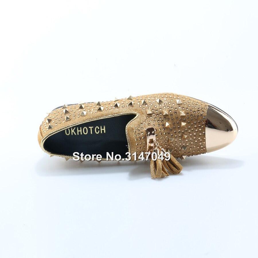 OKHOTCN/мужские золотистые туфли лодочки; большие размеры; желтые замшевые лоферы; Мокасины без шнуровки; мужские туфли лодочки для курения; св... - 6