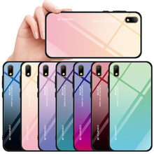 Gradient Tempered Glass Case For Huawei Y5 2019 Honor 8s Shockproof Glossy Cover for Prime 2018