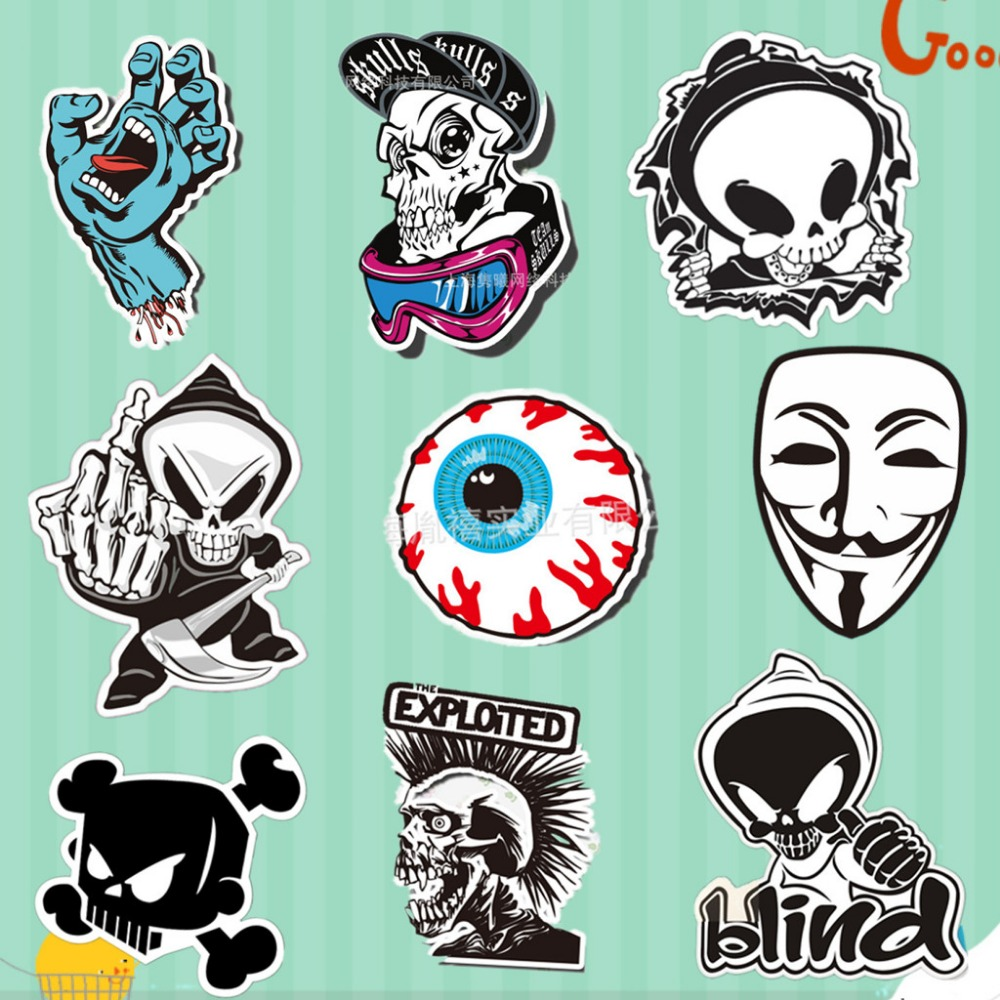 Make stickers for your car - 9 Kinds Of Horror Pictures Skull Wall Stickers Ma