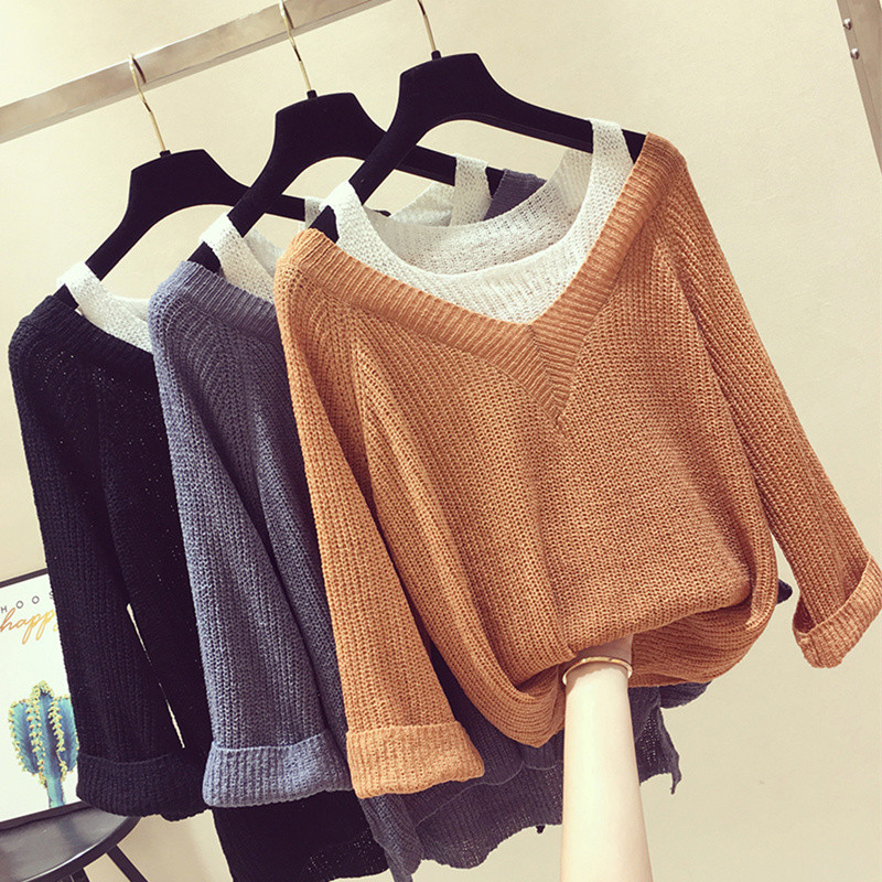 Autumn 2019 Off shoulder Pullover Long sleeve Casual Loose Knitted Bottoming False two Sweater Women sueter mujer
