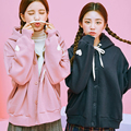 2017 Harajuku Футболка Женщин Kawaii Корейский Весна Осень Мягкой Сестра Мило форме Сердца Вышивка Любовь Розовый Толстовки Женщин