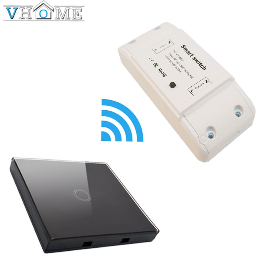 VHome wireless remote control 433mhz1 RF receiver 170v-250v relay channel wall lamp 5A transmitter controller 3x10mm 5a 250v