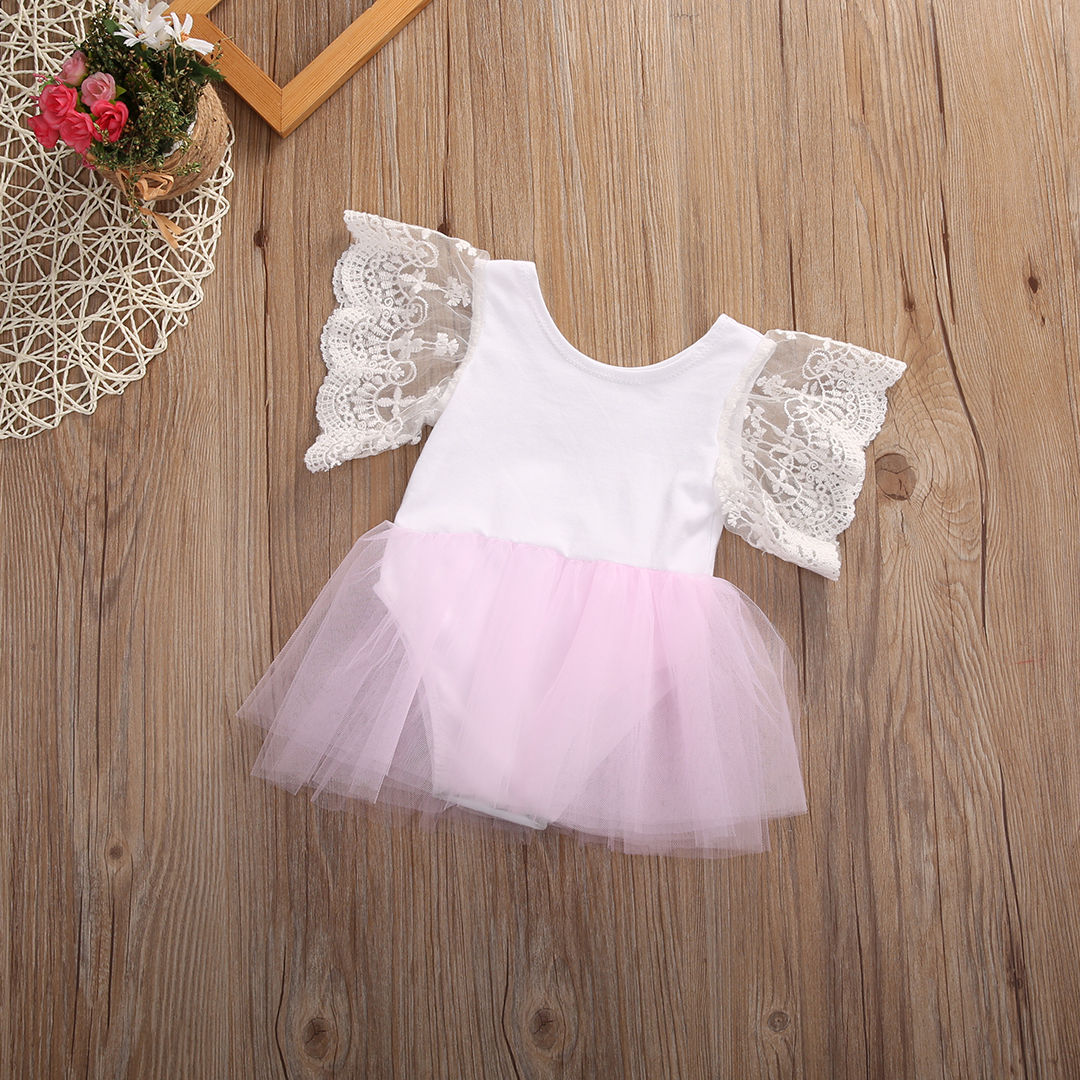 0-3Y Newborn Kids Baby Girls Summer Cotton And Lace Two Colors Short Sleeve A-Line O-Neck Dress
