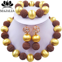 Majalia Fashion Women Brown African Costume Jewelry Set Nigerian Wedding African Beads Jewelry Set CX 002