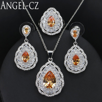 ANGELCZ 2017 African Jewelry Sets For Women High Quality Austrian Champagne Crystal Sterling Silver 925 3pcs
