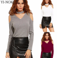 YI-NOKI Fashion T Shirt Women Off Shoulder Long Sleeved T-shirt Halter top V Neck Solid Tee Shirt Femme Women Tops Camisas