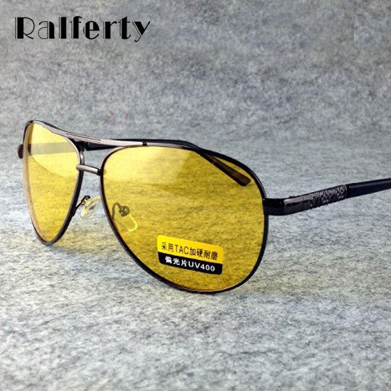 Ralferty amarillo polarizado gafas de sol hombres mujeres gafas de visión nocturna de conducción gafas conductor aviación gafas de sol Polaroid UV400