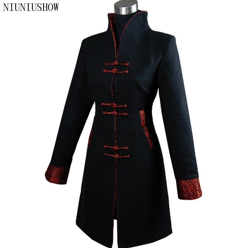 Black Traditional Winter Chinese Women s Cashmere Long Jacket Coat Outerwear Size S M L XL