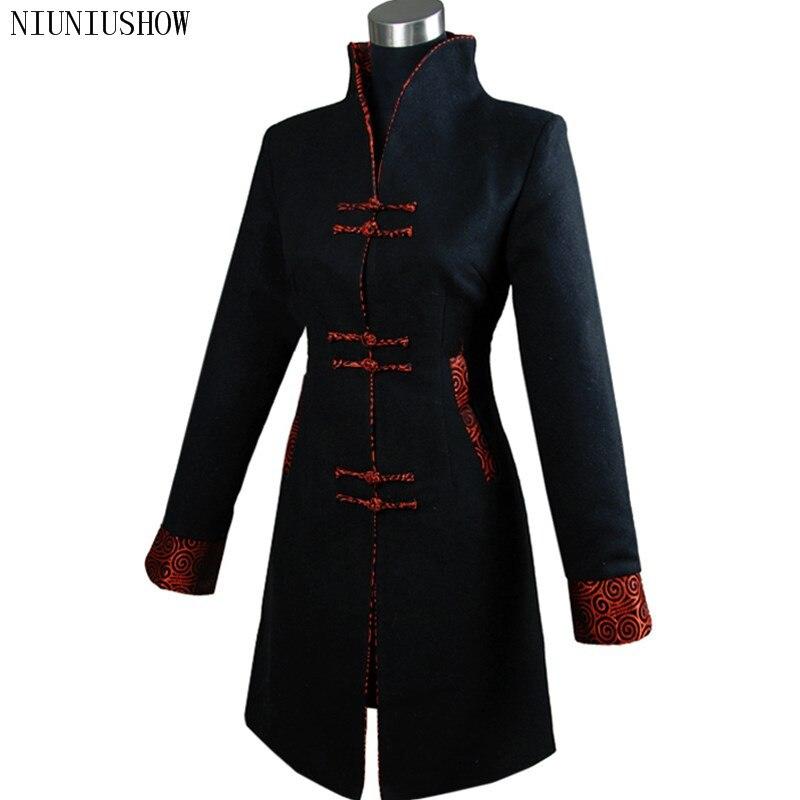 Kadın Giyim'ten Siper'de Siyah Geleneksel Kış Çin kadın Kaşmir Uzun Ceket Ceket Giyim Boyutu S M L XL XXL XXXL 4XL Ücretsiz kargo 2987 2'da  Grup 1