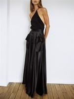 Backless One Shoulder Top Sexy Asymetrical T shirt Halter Tops Slim Elegant Black Summer Women Party Vest High Quality Female