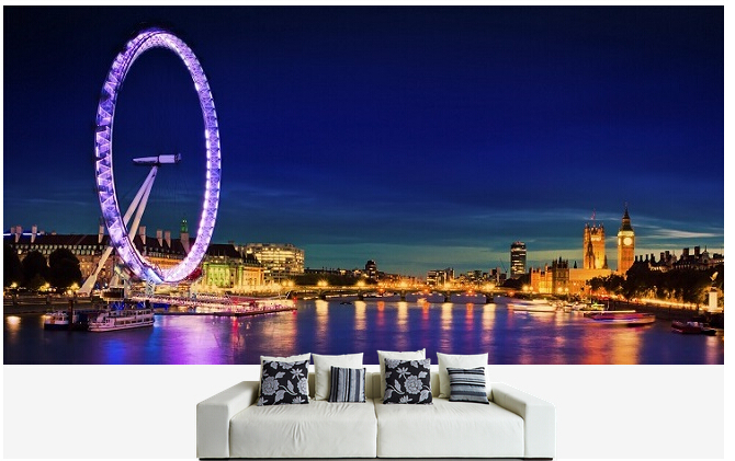 Custom photo wallpaper, London Skyline murals for the sitting room the bedroom TV sofa wall waterproof vinyl papel DE parede custom photo wallpaper london skyline murals for the sitting room the bedroom tv sofa wall waterproof vinyl papel de parede