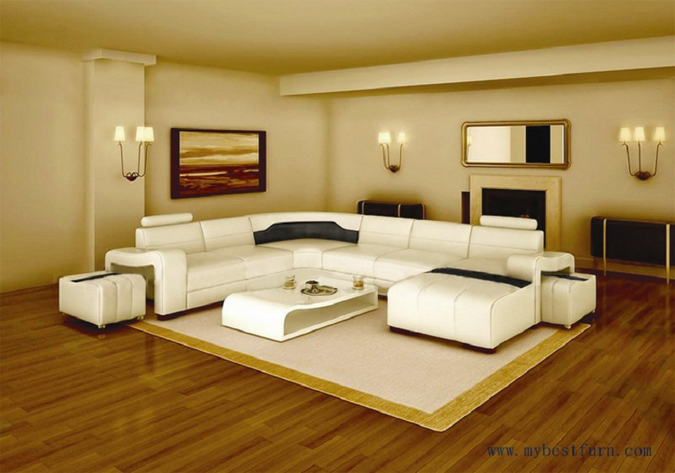 Free Shipping Modern Design Best Living Room Furniture White Leather Sofa Set With Ottoman S8714