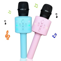 Kids Emulated Microphone Karaoke USB Wireless Microphone Music Toy Party Song with Light Effect For Boys Girls Birthday Gift