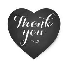 1.5inch Heart Wedding Favor stickers chalkboard Thank you