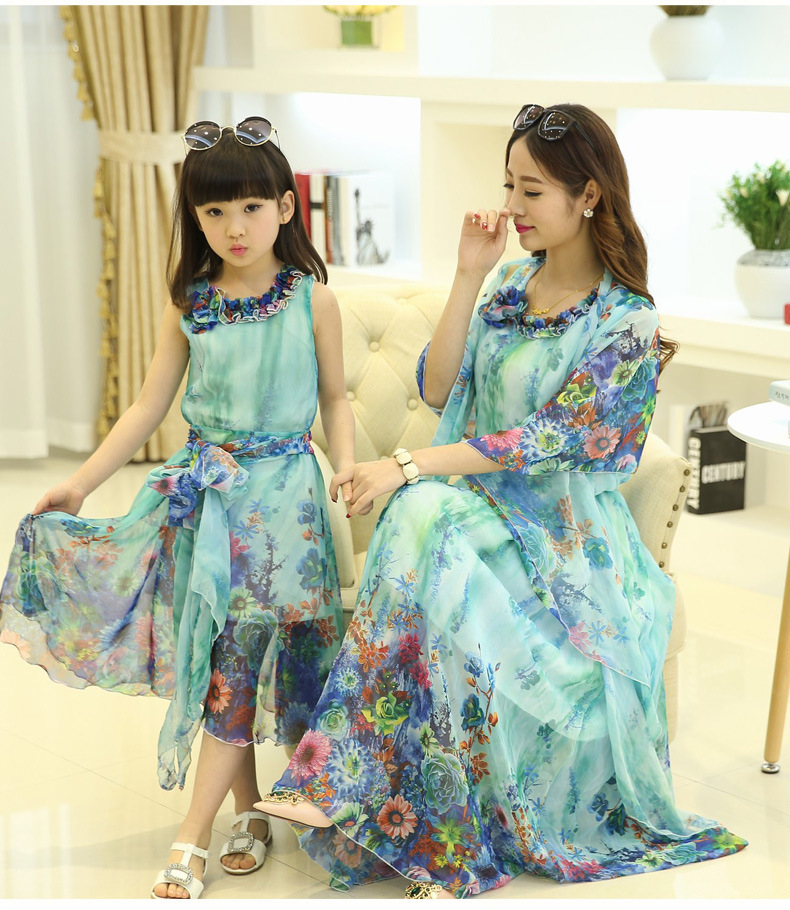 2015 summer style babymmclothes mom and daughter dress