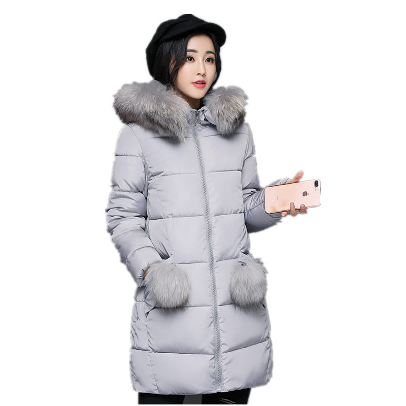 Winter Jacket Women Long Coats With Large Fur Collar New Design Pocket Parkas Ladies Women Outerwears Female Outfits fashion 3XL 2016 new women parkas faux fur collor three quarter sleeve female outerwears fashion loose woolen coats plusaf445