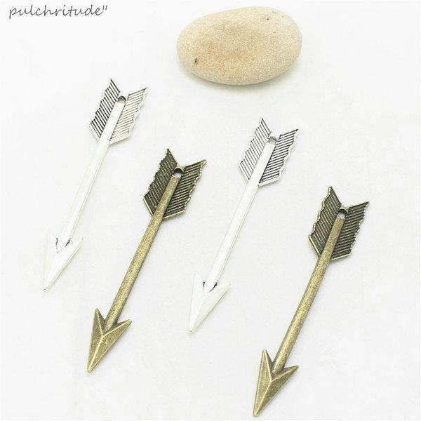 Cloche douce 30 pièces 11*61mm deux couleurs en alliage de Zinc en métal flèche breloques Vintage pendentif à la mode pour la fabrication de bijoux D1027