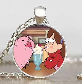 Steampunk dramat Gravity Falls BILL CIPHER koła mabel świnia napój lody zawieszki charms naszyjnik lekarz, który 1 sztuk/partia łańcucha 2017