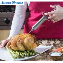 Инжектор для мяса из нержавеющей стали-маринад инжекторный пистолет с ароматом игла Шашлык Из мяса инструмент вкус кулинарный шприц с 2 иглами