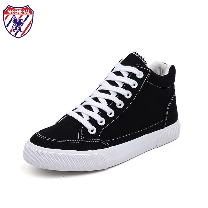 M.GENERAL Female Canvas Shoes All-match 2017 New Fashion Women White Shoes High Tops Casual Basic Style Cloth Shoes Black 35-40 m genreal 2017 new women white shoes all match summer breathable leather shoes vulcanized casual shoes candy color lace 35 39