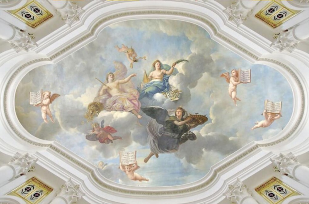 Custom Photo Angel Ceiling Mural Paintings Living Room Ceiling Wallpaper Papel Pintado Pared Europe Ceilings