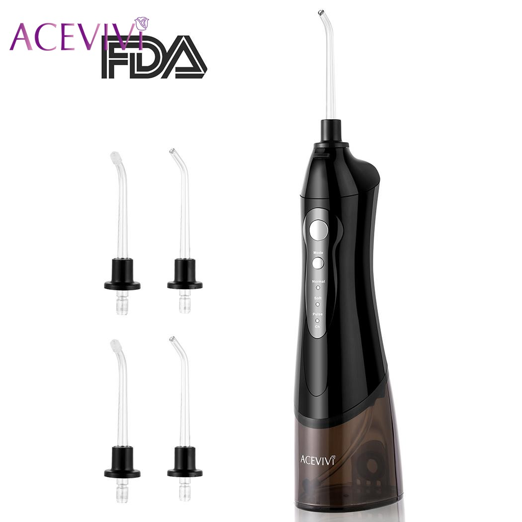 ACEVIVI Portable Cordless Dental Electric Oral Irrigator Water Jet Flosser Oral Care Rechargeable Teeth Pick Cleaner Tooth SPA l pack 380 led light mirror pick dental oral care kit light blue